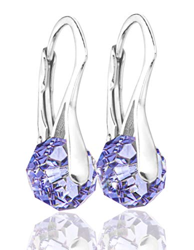 Ah! Jewellery Sophisticated Genuine 8mm Tanzanite Briolette Crystals From Swarovski Earrings. Sterling Silver, Stamped 925. 2.6GR Total Weight. 21mm Total Earring Length.