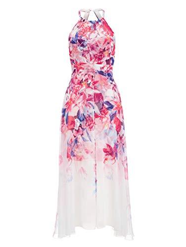 Alba Moda Damen Figurbetontes Knielang Kleid Ärmellos in Weiss- pink