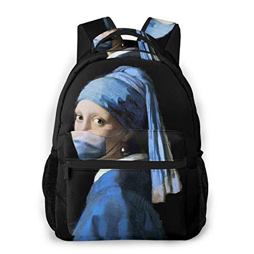 Lässige Laptop Rucksack Mädchen mit Covid-19 Männer und Frauen Casual Style Leinwand Rucksack Schultasche,