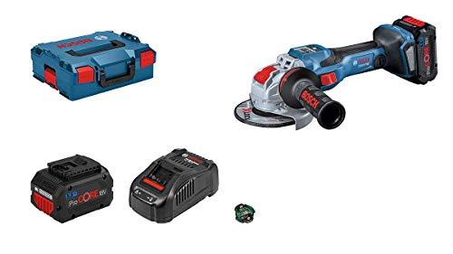 Bosch Professional BITURBO GWX 18V-15 SC - Amoladora angular a batería (18V, disco Ø 125mm, X-LOCK, velocidad variable, Connectivity, 2 baterías 5.5Ah ProCORE18V, en L-BOXX)