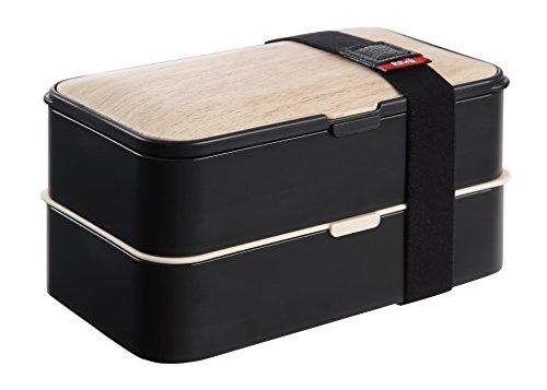 PuTwo Lunch Box 2 Compartiments Hermétique avec Couverts Graduits Bento Box LFGB SGS FDA Vérifié Idéal Pour Enfant et Adulte - Noir