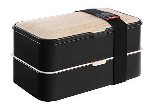 PuTwo Leakproof Bento Box 2 Tiers Bento Lunch Box Lunch Boxes with Reusable Cutlery Japanese Style for Microwave Freezer Dishwasher Bento Boxes for Kids Adults Work School - Bamboo Black