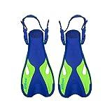 Pinne Snorkeling per Bambini - AquaFlex Kid Flippers per Il Nuoto e Lo Snorkeling (L-XL, Blu Marino & Menta)