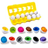 Color & Shapes Matching Egg Toy - Shape Sorting & Color Recognition Learning Toy for Toddlers - Preschool Game - Montessori Education - Easter Eggs