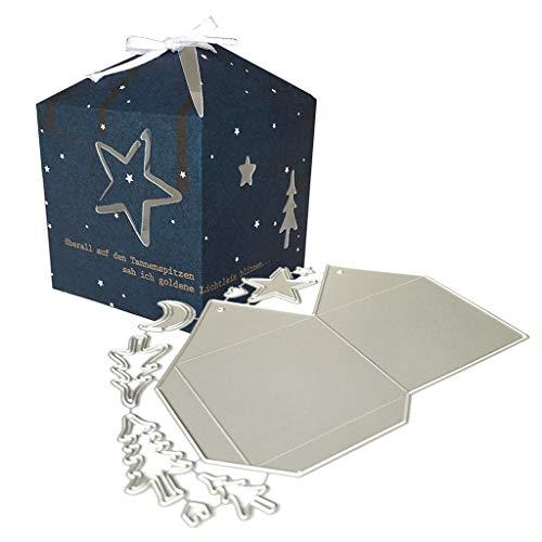 ECMQS Baum Mond Stern 3D Box Stanzmaschine Stanzschablone Prägeschablonen Stanzformen Schablonen Für Scrapbooking, Herstellung Von Karten, Albumdekoration, Bilderrahmen