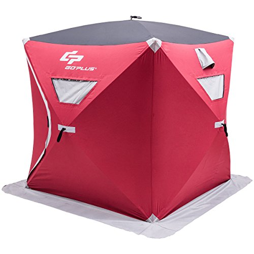 Goplus Portable Ice Shelter Pop-up Ice Fishing Tent Shanty w/Bag and Ice Anchors Red