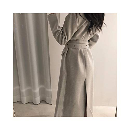 NO BRAND dames lange mantel winterjas met riem bureaumantel met vetersluiting