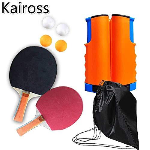 LEILEI Juego de Raquetas de Tenis de Mesa de Ping Pong portátil Juego de Tenis de Mesa 2X Palas de Padel y Red Extensible de 4 Barras para Ping Pong de Interior y Exterior