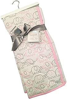 Sumersault Baby Girl 100% Cotton Muslin Quilted Blanket Pink Grey Elephants