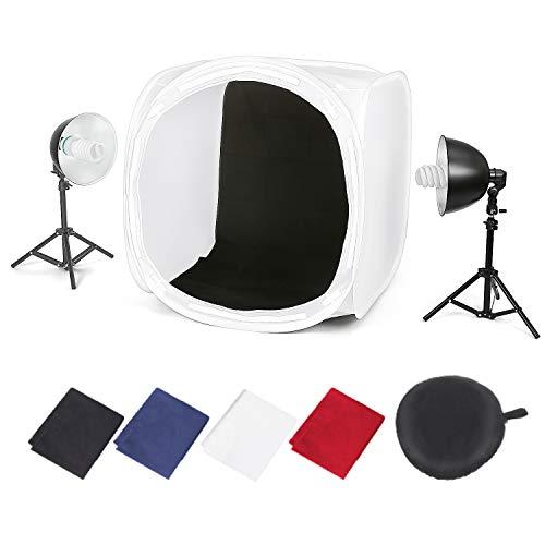 Amzdeal Caja de Luz Portátil Kit 80 * 80cm con 2 Lámparas Fotográfica de 135W en Pie y 4 Fondos (Negro/Blanco/Azul/Rojo) para Estudio Fotográfica