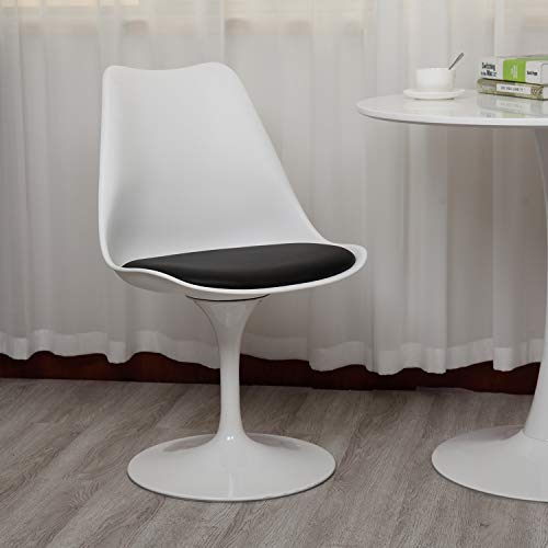 Mid-Century Swivel Tulip Chair for Kitchen and Dining Room, Modern Office Side Chair with Upholstered Seat and Curved Backrest, Living Room Bedroom Chair, White and Black
