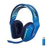 Logitech G Auriculares con Micrófono Inalámbricos Logitech G733 para Gaming con Diadema con Suspensión, Lightspeed, RGB Lightsync, Tecnología de Micrófono Blue VO!CE, Azul