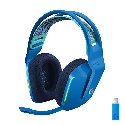 Logitech G733 Lightspeed Wireless Gaming Headset with Suspension Headband, LIGHTSYNC RGB, Blue VO!CE mic Technology and PRO-G Audio Drivers - Blue