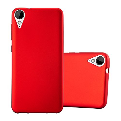 Cadorabo Hülle für HTC 10 Lifestyle/Desire 825 - Hülle in METALLIC ROT – Handyhülle aus TPU Silikon im Matt Metallic Design - Silikonhülle Schutzhülle Ultra Slim Soft Back Cover Case Bumper