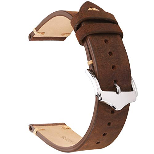 EACHE 22mm Genuine Leather Watch Band Brown Crazy Horse Leather Replacement Straps