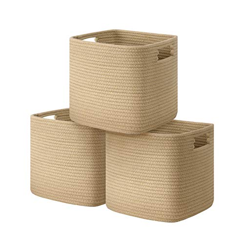 UBBCARE Cube Storage Bins Organizer Set of 3 Collapsible Cotton Rope Storage Baskets Decorative Woven Basket with Handles 11 H x 10.5 W x 10.5 D Brown