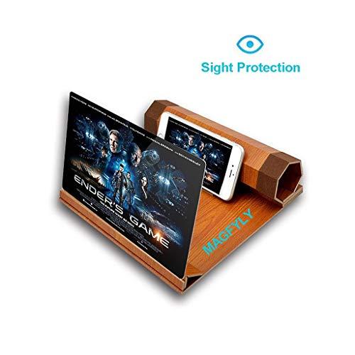 YM09 Praktische 12 inch Grote Scherm Vergrootglas Voor Smartphone, 3D Vergrootglas Met Stand Voor Android & Iphone, Opvouwbare Draagbare Loupes Voor IPhoneXS/XR/5/5s/6/6s/7/7s/8/8s, ORANJE