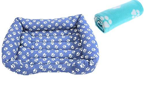 Cisne 2013, S.L. Cama para Perro y Gato Azul Huellas Blancas 80 * 60cm + Manta de Mascotas de Regalo