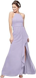 Cascade with High-Neck Chiffon Bridesmaid Dress Style F20014