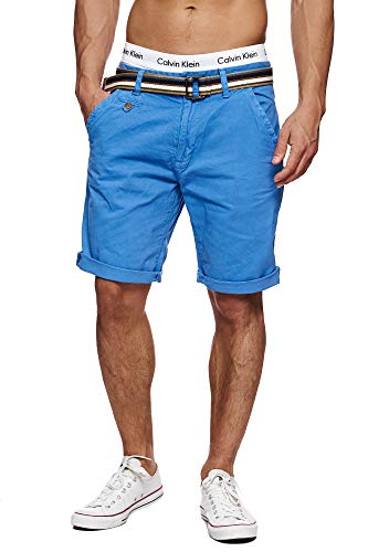 Indicode Indicode Herren Cuba Chino Shorts mit 5 Taschen inkl. Gürtel aus 100% Baumwolle | Kurze Hose Regular Fit Bermudas Sommerhose Herrenshorts Short Men Pants Chinohose für Männer Blau Palace Blue S