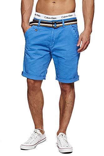 Indicode Herren Cuba Chino Shorts mit 5 Taschen inkl. Gürtel aus 100% Baumwolle | Kurze Hose Regular Fit Bermudas Sommerhose Herrenshorts Short Men Pants Chinohose für Männer Blau Palace Blue M
