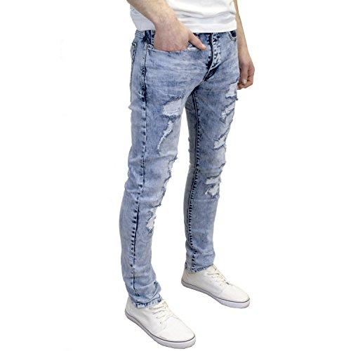 Eto Mens Designer Branded Shredded Ripped Slim Fit Distressed Jeans (28W x 32L, Lightwash)