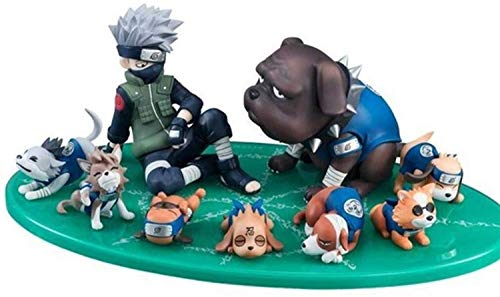 YLSP Exquisite Hand Model Kakashi and Puppies, PVC Toy Collection Statue of Cartoon Characters, Animation Naruto Model, Cartoon Decorative Sculpture (9 cm) (Color : -, Size : -) image