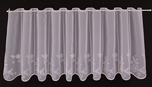 Tenda della finestra Natale ricamato altezza 45 cm | Può scegliere la larghezza in segmenti da 31,5 cm, come vuole | Colore: bianco; la natura; argento | Tendine cucina