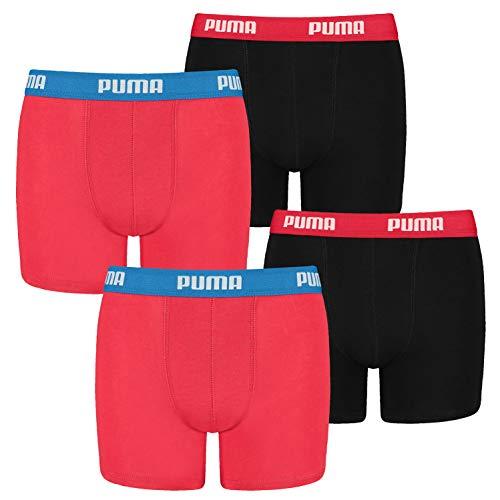 PUMA 4 er Pack Boxer Boxershorts Jungen Kinder Unterhose Unterwäsche, Farbe:786 - Red / Black, Bekleidung:176