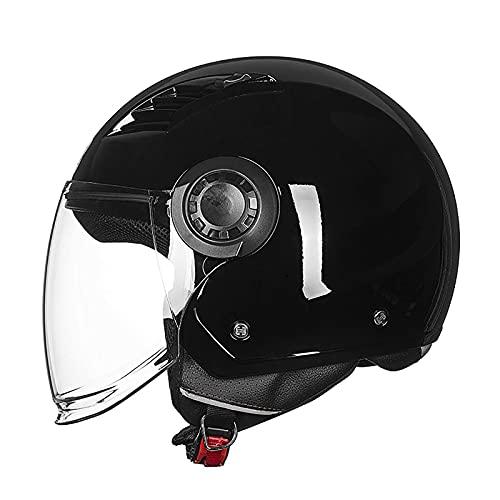 Casco Retro para Motocicleta, Medio Casco, Casco de Moto Jet con protección Solar, Adecuado para ciclomotores, Cruiser, Scooter, Carreras de Motos, Certificado ECE/Dot
