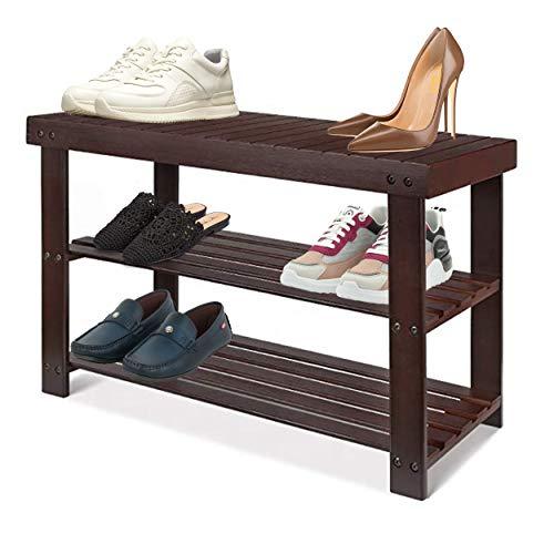 Halter Zapatero de bambú de 3 niveles, zapatero para armarios, zapatero para entrada, zapatero organizador y banco de baño (marrón)