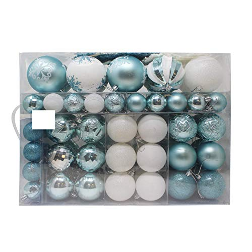 Joiedomi 133 Pcs Christmas Ornaments, Assorted Shatterproof Christmas Ornaments for Holidays, Indoor/Outdoor Party Decoration, Tree Ornaments, and Events (Blue&White )
