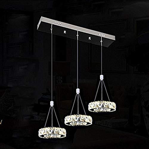 27W 3-Ringe LED Pendelleuchte Modern Luxus Höhenverstellbar Hängeleuchte Elegant Rostfreier Stahl Kristall Hängelampe Wohnzimmer Esszimmer Schlafzimmer Kronleuchter 3 * Ø20cm Weißes Licht 6000K