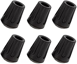 TrailBuddy 6-Piece Pack Rubber Tips for Trekking Poles - Replacement Pole Tip Protectors Fits Most Standard Hiking Poles with 11mm Hole Diameter - Shock Absorbing, Adds Grip, and Traction