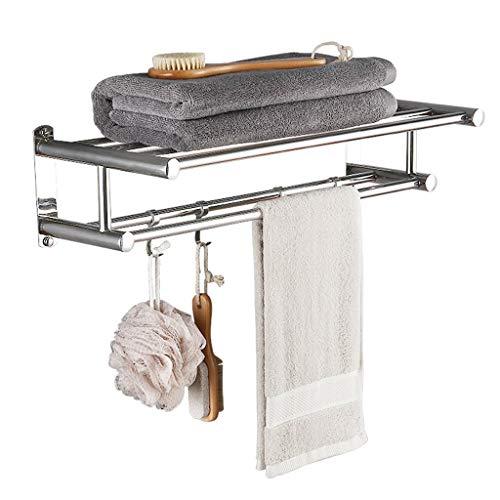 OLDJTK Toallero con Doble toallero for baño (Acero Inoxidable 40 cm montado en la Pared) Organizador de Estante de Ducha, Acabado Pulido