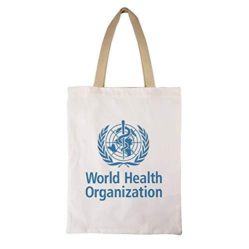 世界保健機関 女性のトートバッグコットンA4互換大容量シングルバックパックハンドバッグ通勤学校 両面印刷
