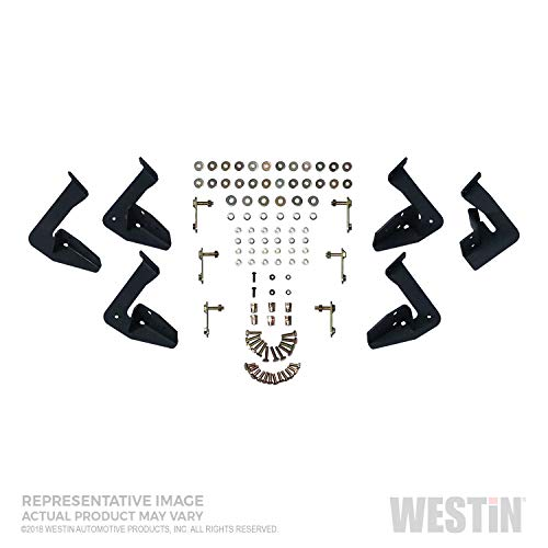 Westin 56-139452 Textured Black Nerf Step Bar (HDX Stainless Drop for Ford F-150 Super Crew 2015-2018; F-250/350 Crew Cab 2017-2018), 1 Pack