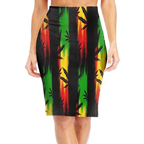 DAWN&ROSE Falda larga para mujer rastafarian marihuana largo hasta la rodilla