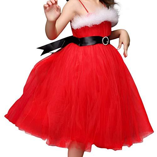 IEFIEL Vestido de Princesa Boda Fiesta Navidad para Niña Vestidos sin Mangas Traje de Fiesta Ceremonia Cumpleaños Elegante 2-8 Años Rojo 2-3 años