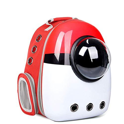XHAEJ Mochila para Mascotas Bolsa de Espacio para Mascotas Salir portátil Gato y Perro Bolsa Mascota Transpirable Mascota Mochila al Aire Libre Viaje Caminando (Color : Red, Size : 34x42x26cm)