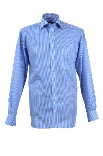 Eterna chemise pour homme style moderne bleu/blanc rayé avec patch/taille 39–46 4755.13. x 157 - Bleu - taille col: 39