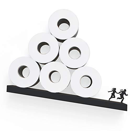 Rangement de papier toilette - Étagère avalanche pour rouleaux de papier toilette - Décoration de salle de bain - Étagère en papier toilette noire - Rangement unique pour rouleaux de papier de soie