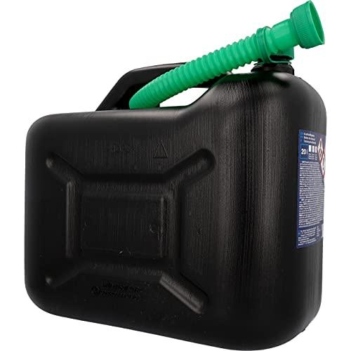 Unitec 73852 Benzinkanister, 20 l, robuster Kunststoff, schwarz, Benzinkanister für Treibstoff aller Art, mit UN Zulassung, inklusive Ausgießer