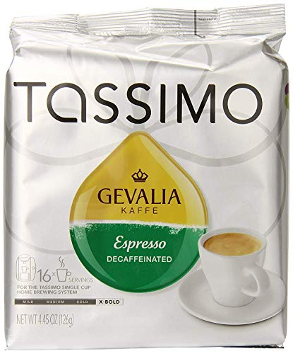 Tassimo Gevalia Decaf Espresso Extra Bold Roast Coffee T Discs, 16 Count (Pack of 5)