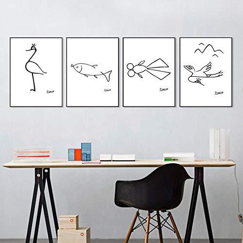 Pablo Picasso Leinwanddrucke Malerei Tier Linie Kunst Poster Abstrakte Wandkunst Bilder für Wohnzimmer Büro Home Decoration 30 × 42cm × 4 Rahmenlos