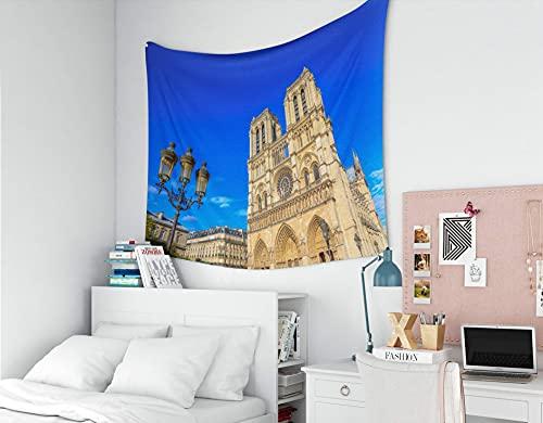 Tapiz de arquitectura, tapices Deacutecor Sala de estar Dormitorio para el hogar Inhouse por Impreso para la lámpara de calle de hierro con Notre Dame de París en el fondo Lugar de referencia popular