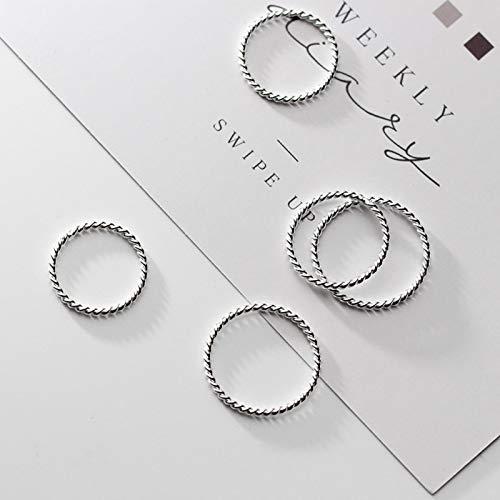 DOOLY Anillo Fino retorcido de Moda para Mujer, clásico de Plata de Ley 925, minimalismo, Abierto, Regolabile, Anello impilabile, joyería Fina