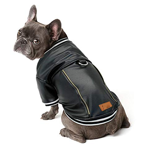 Leather Pet Clothes Winter Dog Jacket Coat Waterproof Outfit Costume Pug French Bulldog Clothes Warm Clothing Roupa cachorro Black L