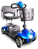 Portable Travel Mobility Scooter - 4 Wheel with Tight Turning Radius, Swivel Seat and Delta Tiller - CityCruzer by EV Rider (Blue)