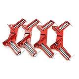 N/A Pinzas de ángulo Recto de 4 Pulgadas y 90 Grados Clip Marco de Imagen Abrazadera de Esquina Multifunción Abrazaderas de inglete de 100 mm Soporte de Esquina Herramientas de Mano 4 PCS